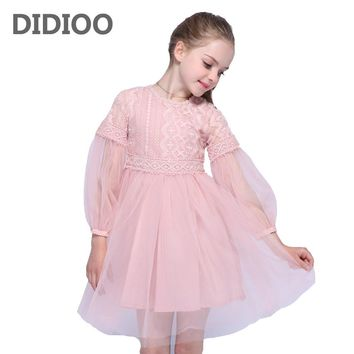 Princess Wedding Dresses For Flower Girls Ball Gowns Puff Sleeve Tulle Party Dress Summer Autumn Lace Dress