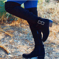 Eberley Suede Knee High Boots - Black