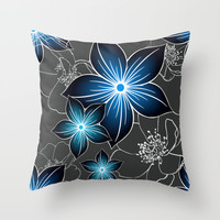 Cobalt And Charcoal Throw Pillow by ALLY COXON | Society6