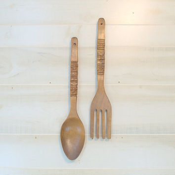 Vintage Tiki Fork and Spoon, 1970s Wooden Wall Serving Utensils, Carved Wooden Fork and Spoon
