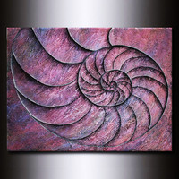 Fibonacci Nautilus Shell:  Original Purple Painting - One of a Kind 48 x 36