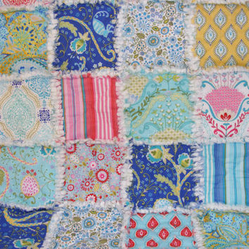 Security Blanket, Lovey Rag Quilt, Baby Quilt, Doll Quilt, Cottage Chic, Shabby Style , Aqua, Blue, Red, Pink, White, 28 X 34  Ready To Ship