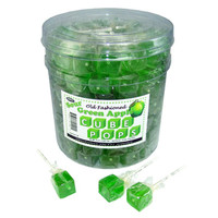 Cube Lollipops - Green Apple: 100-Piece Tub