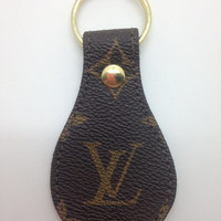 Louis Vuitton keychain fob round made from re-purposed  LVMH hand bag