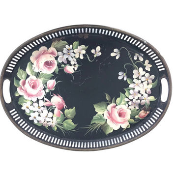 Vintage Tole Tray Hand Painted Metal Serving Tray with a Floral Pink Rose Design Pilgrim Art Toleware Red Lavender Green Shabby Cottage Chic