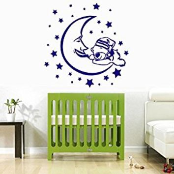 Wall Decal Vinyl Sticker Decals Art Decor Design Cartoon Nice Bear and Moon Stars Good Night Sleep Kids Children Nursery Bedroom(r695)