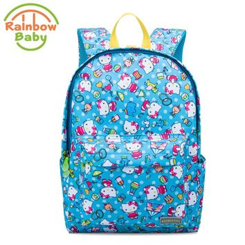 Rainbow Baby Cartoon Cat Kids & Babys Bags Anti Lost School Bags for 4-10 Years Boys and Girls Bagpack Waterproof Backpack