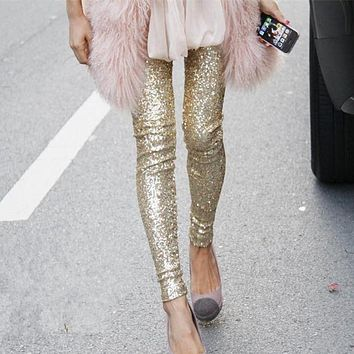 Women Fashion Full Sequins Leggings Bodycon Pants Trousers