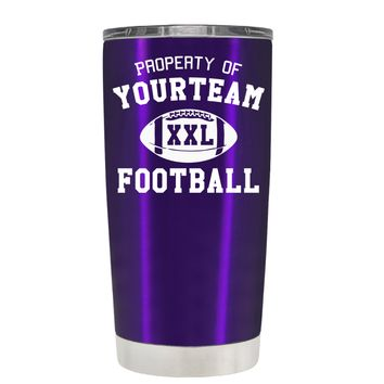 TREK Custom Property of Team Football on Translucent Purple 20 oz Tumbler Cup