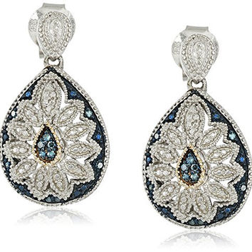 Sterling Silver and 14kt Yellow Blue Diamond Pear Shape Art Deco Earrings