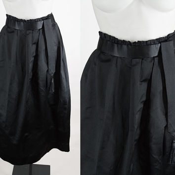 Antique Edwardian Skirt / Vintage 20s Skirt / Late 1910s or Early 1920s Black Silk Structured Skirt XS