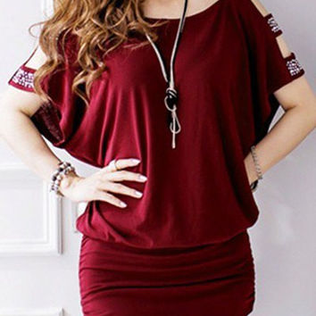 Red Cut-Out Sequined Sleeve Ruched Mini Dress