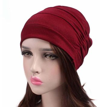 Winter Hats For Women Fashion Cancer Chemo Hat Beanie Scarf Turban Head Wrap Cap Casual Solid Knitted Caps Skullies Beanies