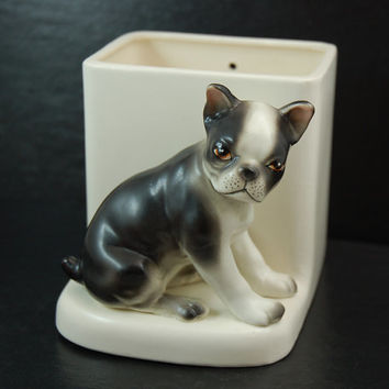 Vintage Lefton Boston Terrier Puppy Ceramic Figurine Planter, Wall Pocket, Desk Caddy, Dog Collectible