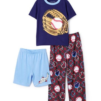 Blue Baseball Sleep Tee, Shorts & Pants - Toddler & Boys