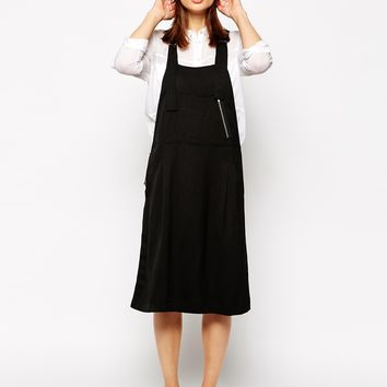 Whistles Dungaree Dress in Linen Blend