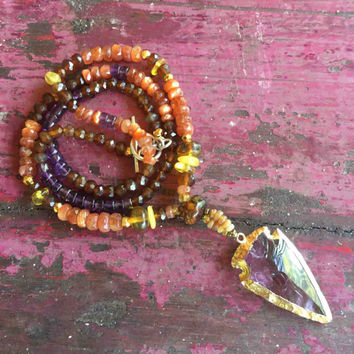 Amethyst Rough Cut Spearhead Pendant (24ct gold plated edging), with Fire Opal, Amber, Rare Sunstone, Hessonite & Amethyst Necklace.