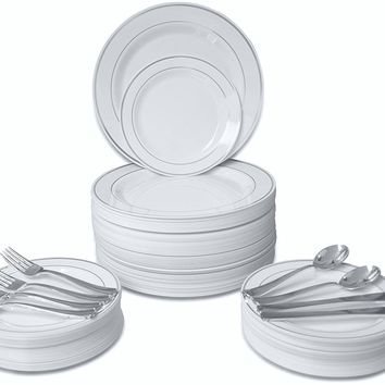 "360 PIECE / 60 guest ""OCCASIONS"" Wedding Disposable Plastic Plate and Silverware Combo (White/Silver rim plates)"