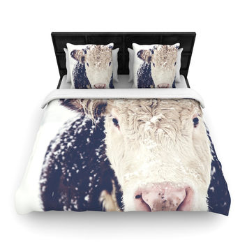 "Debbra Obertanec ""Snowy Cow"" Black White Woven Duvet Cover"