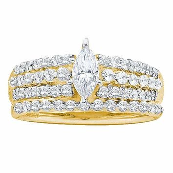 14kt Yellow Gold Women's Marquise Diamond Bridal Wedding Engagement Ring Band Set 1.00 Cttw - FREE Shipping (US/CAN)