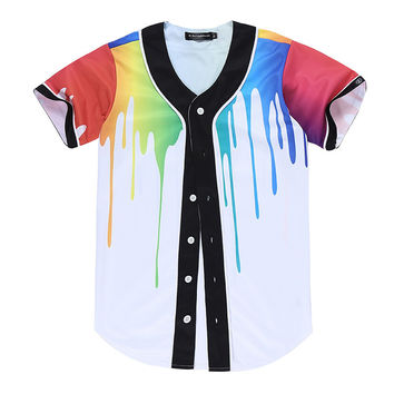 Melting Color 3D Jersey Baseball Harajuku Funny T Shirt Colorful Paint Shirt Fashion Cardigan baseball uniform M~3XL Camiseta