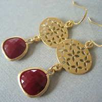Earrings, Red and Gold, Opaque Red Glass, Gold Oval Filligrees