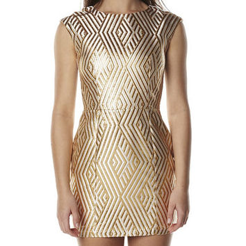 CAMILLA AND MARC TEMPUS DRESS - GOLD WITH CREAM