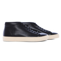 DS110 - Mid cut black minimalist textured leather sneaker