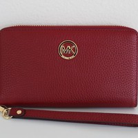 Michael Kors Fulton Leather Large Phone Case Wristlet Wallet Cherry Red
