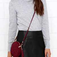Making the Rounds Burgundy Suede Clutch