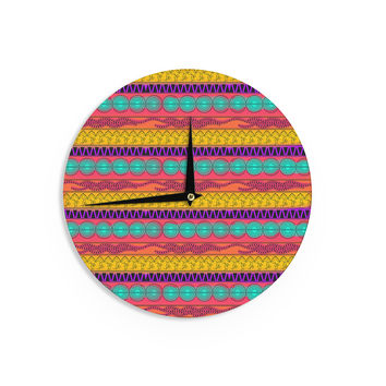 "Famenxt ""Pattern Watercolor Colorful"" Multicolor Pattern Wall Clock"