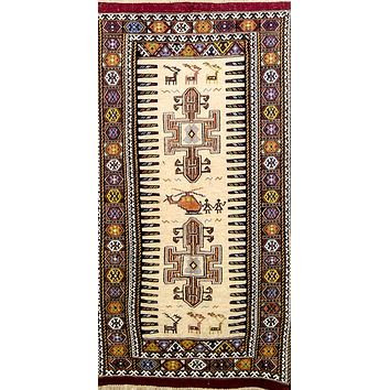 "Oriental Sumak Kilim Persian Wool Rug, Beige and Brown Rug, 3' x 6'5"" Rug"