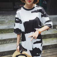 Black White Crocodile T Shirt Dress
