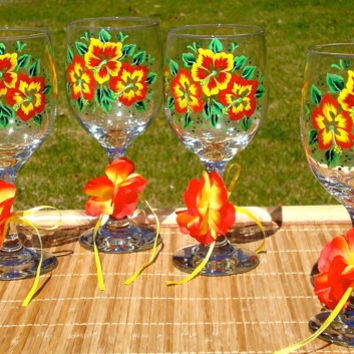 Hand Painted Wine Glasses With Tropical Flowers