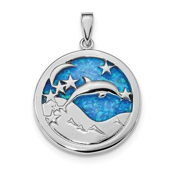 Sterling Silver Blue Inlay Created Opal Dolphins Pendant