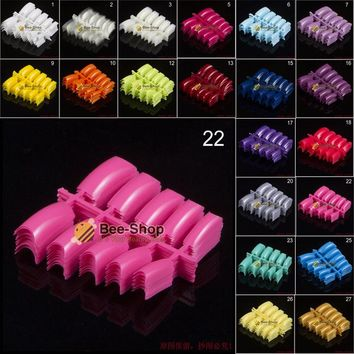 100pcs/pack Beauty Popular False Acrylic Nail Tips Plastic (1~29) Color False French Nail Art Tips For UV Gel Design NEW