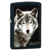 Zippo White Wolf Black Matte Lighter