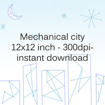 cityscape, instant download, mechanical background, scrapbook background, digital download, digital art, scrapbook download, blue background