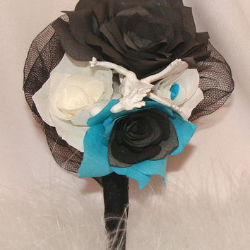 Teal boutonniere, wedding corsage, Dragon boutonniere, Dragon wedding, Fake flower boutonniere, coffee filter flowers, silk bridal bouquets