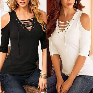 Zanzea Sexy Blusas Women Casual Lace Up Hollow Out V Neck Blouse Off Shoulder Half Sleeve Slim Summer Tops Plus Size Shirts