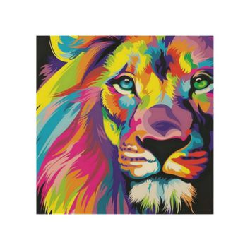 Colorful Lion Wood Wall Art