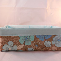 Long Tan and Aqua Floral Fabric Basket For Storage Or Gift Giving