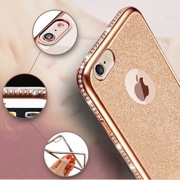 For Fundas iPhone X 7 6 6s Plus 5 5s SE Phone Case Colorful Flim Back Diamond Frame Soft TPU Cover Case For iPhone 5 5s se 6 x