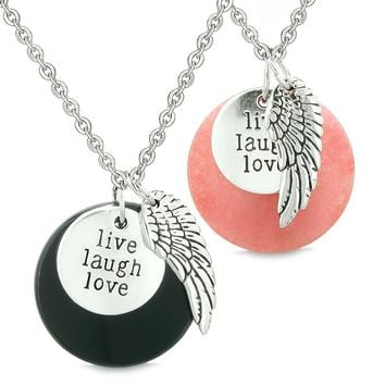 Guardian Angel Wing Live Laugh Love Inspirational Amulet Couples Set Agate Pink Quartz Necklaces