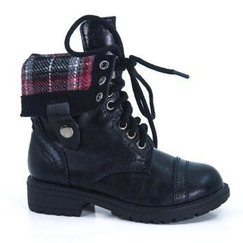 OraleeII Black Pu By Happy Soda, Fold Down Military Boot Winter Lace Up Sturdy Children's Shoe