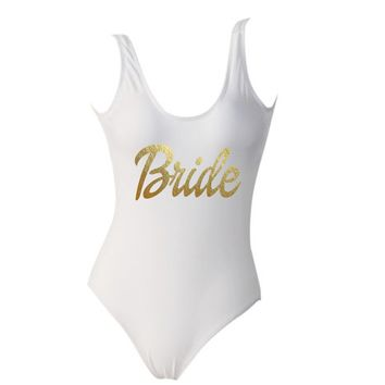 Bride White One Piece Gold Dollie Font Monokini Swimsuit