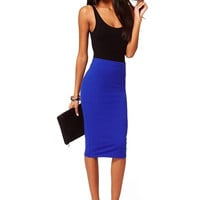 Blue Body-con Midi Skirt with Split