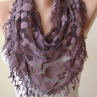 Triangular - Dark Purple - Patterned Tulle Scarf with Same Color Trim Edge
