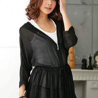 Black Hooded Middle Long Sleeve Waist Tie Zipper Season Matching One Size Polyester Coat @MF3210b - $18.37 : DressLoves.com.