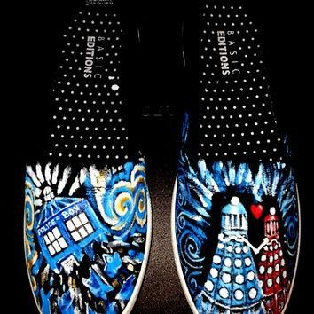 DALEK LOVE Doctor Who shoes Handpainted Tardis Dalek holding hands Van Gogh swirls Bow